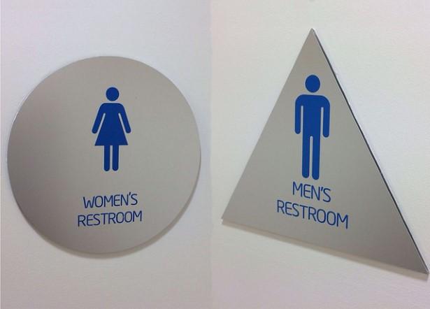 Men and Women Restrooms signs