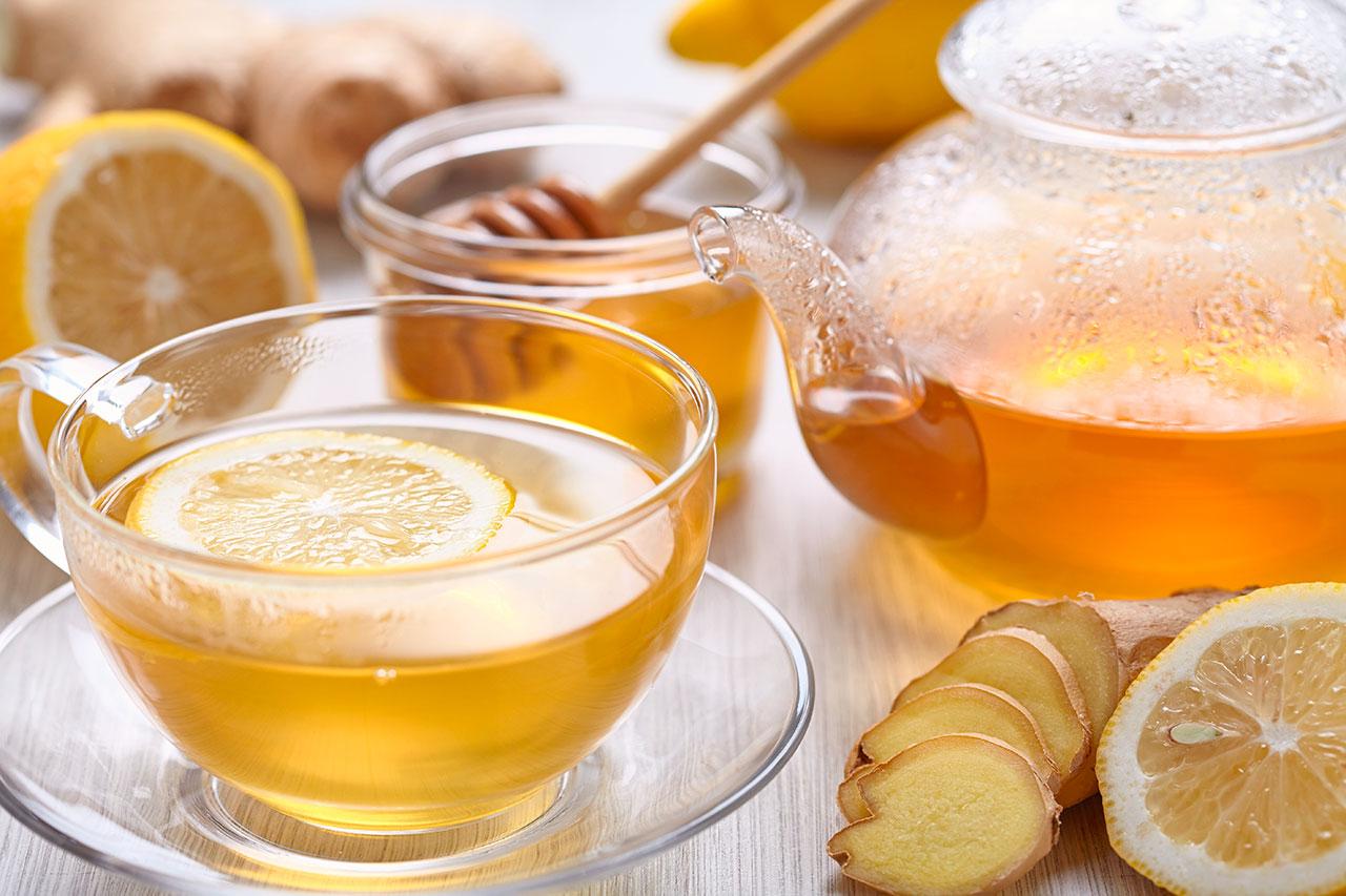Remedio de Infusión de jengibre, miel y limón para la gripe