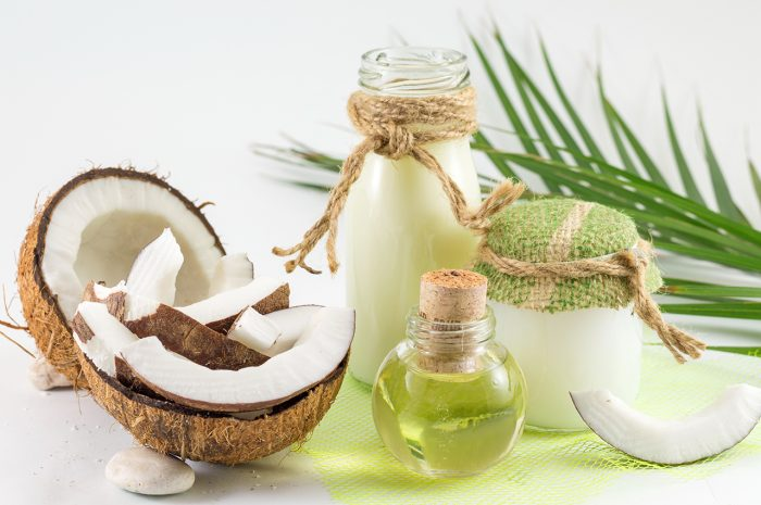 Coconut products with fresh coconut Coconut milk and oil