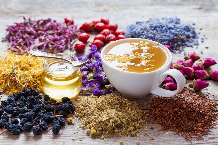 Cup Of Tea, Honey, Healing Herbs, Herbal Tea Assortment And Berr