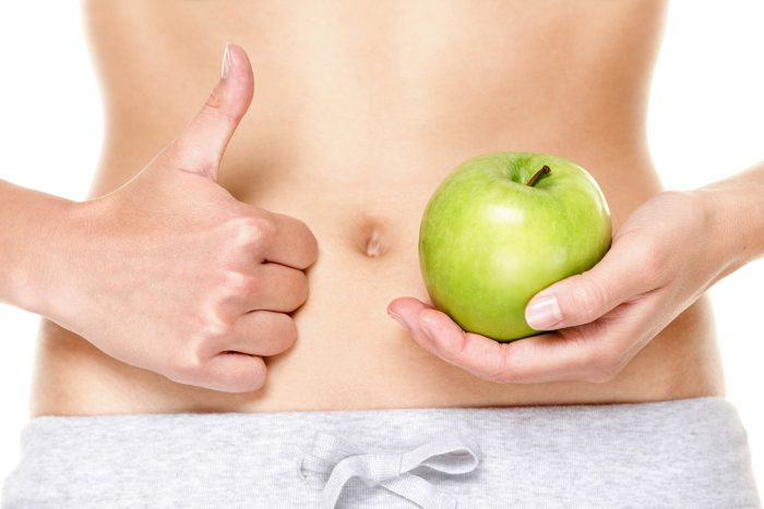 Eating healthy apple fruits is good for stomach digestion and he