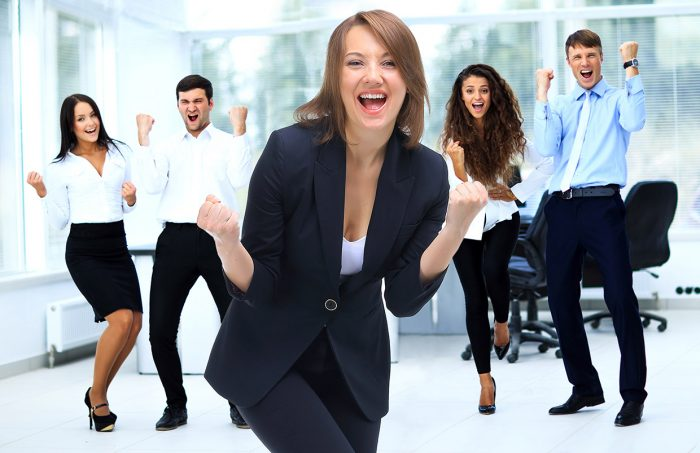 Portrait Of Happy Successful Business Group at office